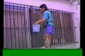 Complete paraplegic using Parastep electrical stimulation climbs wall